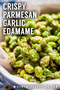 Crispy Parmesan Garlic Edamame Baked in the oven this edamame recipe is a tasty snack with only 123 calories A filling food that will help you reach your weight goals Garlic Edamame, Recipe With Edamame, Recipes With Edamame Beans, Edamame Salad, Side Dish Recipes, Veggie Recipes, Vegetarian Recipes, Salads, Side Dishes
