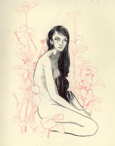 A Girl Named Lily  ~from my sketchbook~  color pencil and pen on paper.