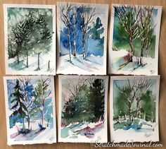 Watercolors of winter woodland landscape scenes - ScratchmadeJournal.com