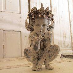 Distressed cherub statue hand painted handmade by AnitaSperoDesign, $285.00