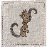 Alphabet animals embroidered cocktail napkins Coral and Tusk - Home