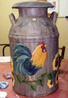 Rooster Painting is Finished Painted Milk Cans, Painted Clay Pots, Painted Rocks, Antique Milk Can, Vintage Milk Can, Rooster Painting, Tole Painting, Milk Can Decor, Old Milk Cans