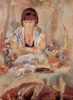 Portrait of Lucy at the Table (1928). Jules Pascin (Bulgarian, Ecole de Paris, 1885-1930). Oil on canvas.