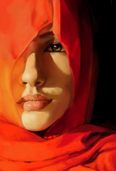Artist: Zombiey {contemporary art beautiful female head woman face in vivid red portrait oil painting} ♥ Gorgeous !!