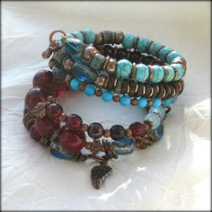 Deep Red and Blue  Bronze & Copper Memory Wire by BlooMoonJewelry, $94.00