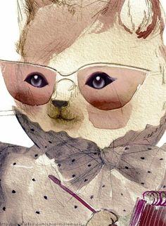 secretary cat - Rosie Music on etsy
