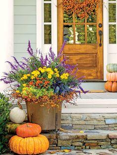 Autumn Garden, Easy Garden, Diy Garden Decor, Garden Decorations, Garden Ideas, Garden Web, Autumn Decorations, Fall Planters, Outdoor Planters