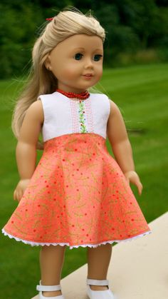 American Girl Doll Clothing. Hand embroidered Scoop neck dress ensemble by Simply 18 Inches