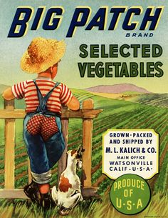 Big Patch Vegetable Crate Label ~ Free Vintage Image