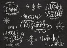 Hand-Lettered Christmas Overlays with Hand Drawn Illustrations