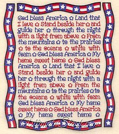 911 crafts for toddlers USA God Bless America Song Lyrics With Banner Portrait Patriot of July Machine Embroidery Design Patriotic Songs Lyrics, God Bless America Lyrics, Patriotic Pictures, Patriotic Quotes, American Songs, American Pride, Fourth Of July Quotes, American Flag Decor, Grief Poems