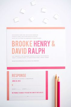 Wedding Invitations with Modern Typography in Peach and Pink