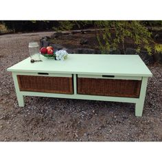 Cane and mint coffee table More furniture available @ www.facebook.com/groups/VintageReclaimed