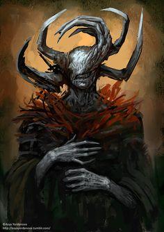Edno by Asya Yordanova Fantasy Kunst, Dark Fantasy Art, Dark Art, Monster Concept Art, Monster Art, Dark Creatures, Fantasy Creatures, Creature Concept Art, Creature Design