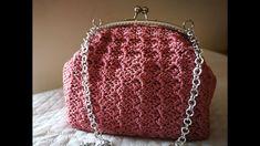 Crochet Hand Purse, Crochet Clutch Pattern, Crochet Angel Pattern, Crochet Purses, Crochet Bag Tutorials, Crochet Videos, Crochet Beach Bags, Yarn Bag, Frame Purse
