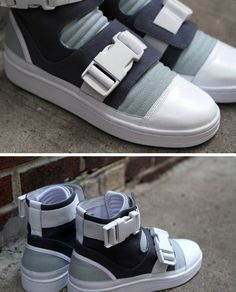 Adidas SLVR re-introduces their popular High Top Buckle sneaker,this time in blue and white. The shoe is designed with a complex closure of buckles and velcro straps that work cohesively for a tigh… Me Too Shoes, Men's Shoes, Shoe Boots, Shoes Sneakers, Shoe Department, Best Sneakers, Designer Shoes, Black Shoes, Matcha
