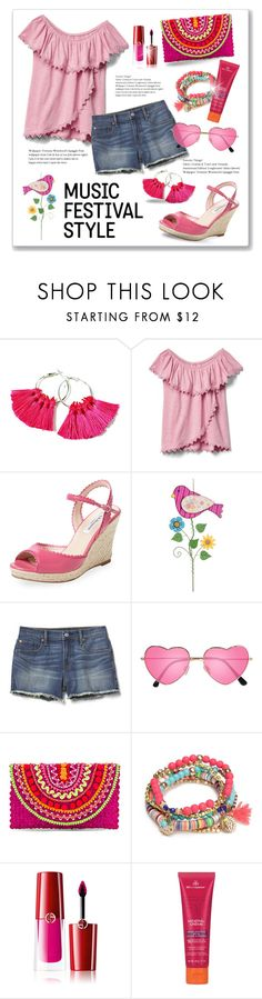 """""""This Ain't Your Momma's Festival"""" by tjclay3 ❤ liked on Polyvore featuring L.K.Bennett, Glitzhome, Gap, H&M, Mystique, Red Camel, Giorgio Armani, MDSolarSciences and festivalfashion"""