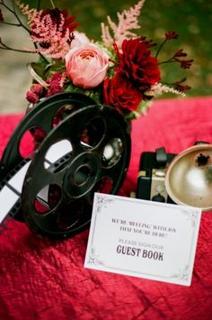 GuestBook Old Hollywood Styled Old Hollywood Prom, Hollywood Glamour Party, Old Hollywood Theme, Vintage Hollywood Wedding, Hollywood Style, Cinema Wedding, Wedding Movies, Wedding Table Decorations, Wedding Themes