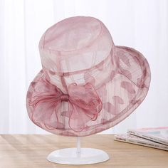 Women Summer Elegant Velvet Bowknot Wide Brim Floppy Bucket Hat Outdoor  Sunscreen Cap is designer 1e50da0bdd26