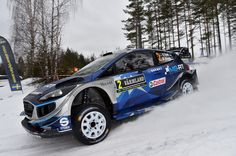 Ott Tanak of Estonia and Martin Jarveoja of Estonia compete in their M-Sport WRT Ford Fiesta WRC during Day One of the WRC Sweden on February 10, 2017 in Karlstad, Sweden.