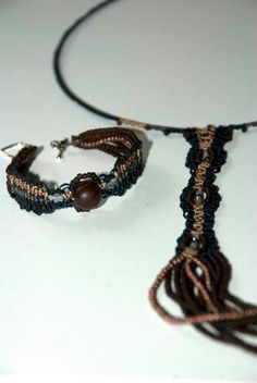 Long necklace & bracelet with macrame nods and beads Beaded Bracelets, Necklaces, Macrame, Beads, Craft, Leather, Jewelry, Fashion, Beading