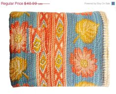 Sale of 14% flat for Independence Day of 2014, I found this really awesome Etsy listing at https://www.etsy.com/listing/195184030/vintage-throw-kantha-quilt-alias-ralli
