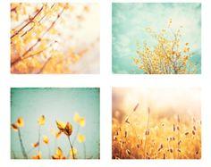 Bestseller - Nature Photography Set - Yellow Blue Teal Mint Aqua Gold - Nursery Wall Art - Carolyn Cochrane