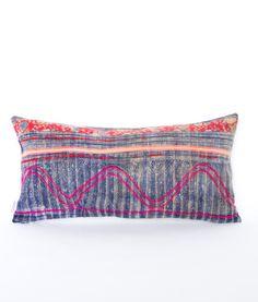 Pillow insert not included.    Front: Vintage Hand Embroidered Batik Textile Pillow    Back: 100% linen    Zipper: Exposed YKK brass zipper