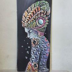 "New piece ""Self realization"" 11x24 inches  Acrylic on recycled marker board Light reactive  Sold  #acrylic #painting #fractals #headdresses #patterns #figureart #dmt #sacredgeometry #visionaryart #johngayart"