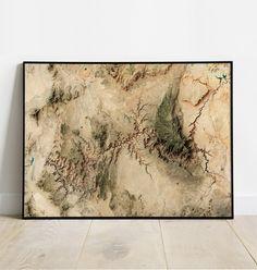 Grand Canyon National Park - Satellite map - USA - 30x40 cm / 12x16 inch / Black Aluminium Frame