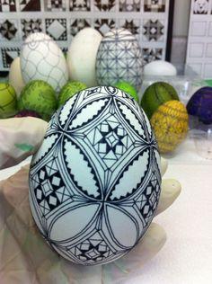 Initial waxing of Ukrainian goose egg by Theresa Somerset of Precision Studio  http://www.precisionartstudio.com