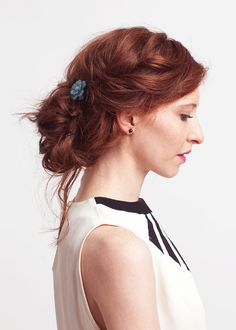 I love the hair color and hair style ... I would change out the blue pin for something decorative and white. Romantic. Perfect!