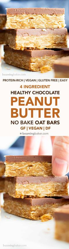 4 Ingredient Healthy No Bake Peanut Butter Cup Oat Bars: this vegan peanut butte. , 4 Ingredient Healthy No Bake Peanut Butter Cup Oat Bars: this vegan peanut butter oatmeal bars recipe is so easy to make & tastes like peanut butter c. Peanut Butter Cups, Peanut Butter Oatmeal Bars, Chocolate Oatmeal Cookies, Oatmeal Cookie Recipes, Chocolate Topping, Almond Butter, Gluten Free Baking, Gluten Free Desserts, Healthy Baking