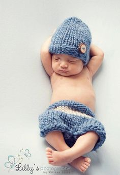 Knit hat and shorties set - newborn to 6 months