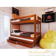 Двухъярусная деревянная кровать Трио - три спальных места. Twin loft wood bed for 3 kids