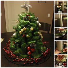 This adorable mesh ribbon Christmas tree centerpiece would be the perfect item for the middle of the table during Christmas eve dinner.  Instructions--> http://wonderfuldiy.com/wonderful-diy-mesh-ribbon-christmas-tree/