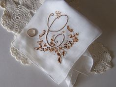 Bride's Wedding Hanky Monogrammed C Vintage by GreenbriarCreations