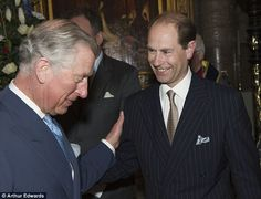 Happy birthday brother: The princes greet one another inside the abbey 10 Mar 2014
