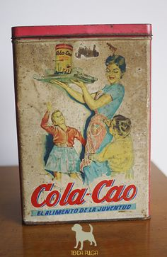 Lata Cola-Cao, antigua lata de chocolatada de los años ´60 de nacionalidad española.