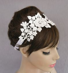 Lace bridal fascinator weddings headband in by MammaMiaBridal