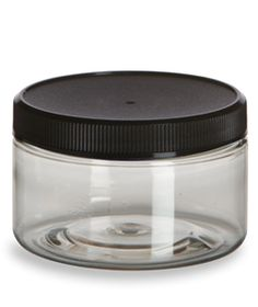 Clear PET Heavywall 4oz Jar w/ Black Lid  Perfect jars for home made beauty products.