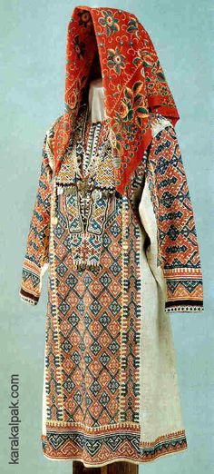 Khanty woman's festive costume, with the front completely covered with red and blue diamonds.  From Tobolsk Province, late 19th or early 20th century.  Image courtesy of the Russian Museum of Ethnography, Saint Petersburg.