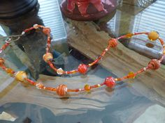Warm and Sparkling Beaded Necklace by ElliTs on Etsy, $30.00