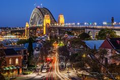 Twilight Observatory - Twilight breaks over Sydney Harbour Bridge from Observatory Hill. The site evolved from a fort built on 'Windmill Hill' in the early century to an astronomical observatory during the nineteenth century - Drew Hopper Photography Australia Photos, Sydney Australia, Australia Travel, Harbor Bridge, Sydney Harbour Bridge, Windmill Hill, Places To Travel, Places To Visit, Sydney New South Wales