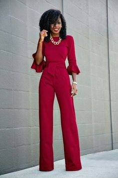 Romper Jumpsuit Clubwear Bodycon Women Playsuit Trousers Party Pants Ladies Sleeveless Short Casual Hot Bodysuit Long Us Womens Sleeve Slim. Fashion Mode, Work Fashion, Womens Fashion, Classy Outfits, Cute Outfits, Modelos Fashion, Jumpsuit With Sleeves, Red Jumpsuit, Jumpsuit Style