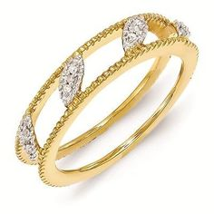 18K Yellow Gold Plated Sterling Silver Jacket Ring 3 mm with Diamonds QSK1599 on shopstyle.com