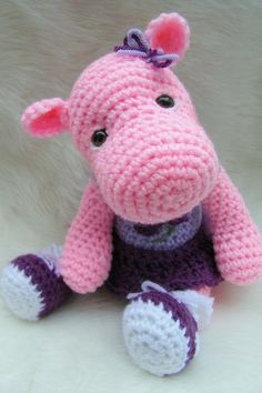 Hippo Toy Crochet Pattern PDF Format by thewoolpurl on Etsy, $4.95