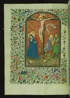 Book of Hours Crucifixion Walters Manuscript W.246 fol. 23v by Walters Art Museum Illuminated Manuscripts