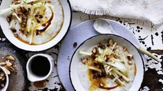 Adam Liaw's Slow-cooked oat porridge with apple, almond and maple syrup