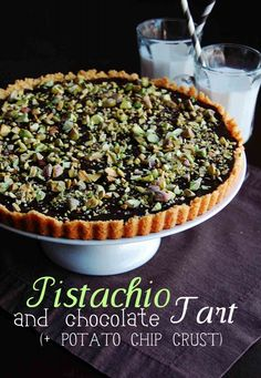 Pistachio-Chocolate Tart with Potato Chip Crust